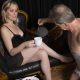 Sissy-maid serves Mistress Troy tea and dark chocolates